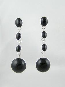 Sterling Silver Onyx Dangle Earrings (ER2395)