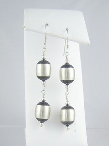 Sterling Silver Antiqued Silver Bead Earrings