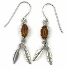 Sterling Silver Amber Feather Earrings