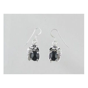 Sterling Silver Onyx Earrings (ER3162)