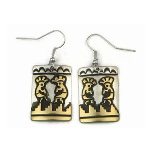 12k Gold & Sterling Silver Kokopelli Earrings by Tommy Singer, Navajo (ER3344)