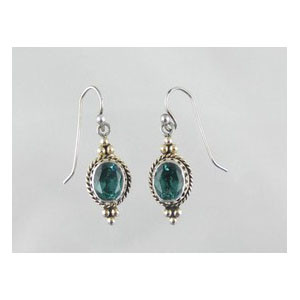14k Gold & Sterling Silver Gallery Wire Green Quartz Earrings