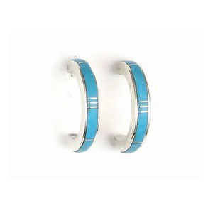 Sleeping Beauty Turquoise Inlay Hoop Earrings by Rick Julius (ER3765)