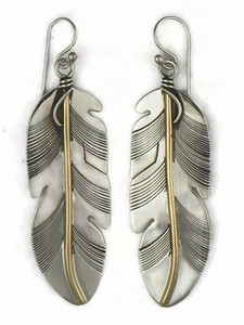 12k Gold & Sterling Silver Feather Earrings  (ER5003)
