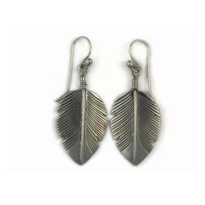 Sterling Silver Feather Earrings by Jerry Platero, Navajo