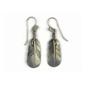 Sterling Silver Feather Earrings by Lena Platero, Navajo (ER5015)