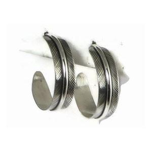 Sterling Silver Feather Hoop Earrings by Lena Platero, Navajo (ER5027)