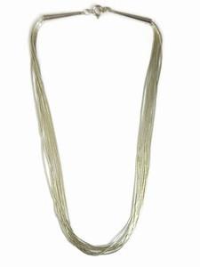 """10 Strand Liquid Silver Necklace Adjustable 24"""" - 26"""""""