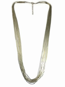 """20 Stand Liquid Silver Necklace Adjustable Length 16"""""""