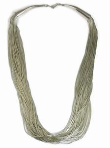 "50 Strand Liquid Silver Necklace Adjustable Length 18"""