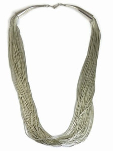 "50 Strand Liquid Silver Necklace Adjustable Length 24"""