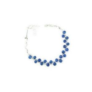 Liquid Silver Lapis Bead Bracelet (LSBR049-L1)