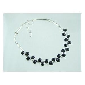 Liquid Silver Onyx Bead Bracelet