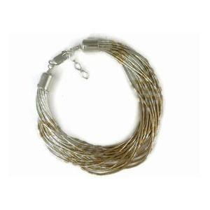 20 Strand Liquid Silver & Gold Bracelet Adjustable Length