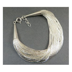50 Strand Liquid Silver Bracelet Adjustable Length