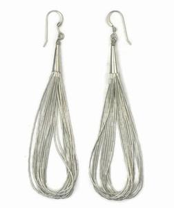 "10 Strand Liquid Silver Earrings 3 1/2"" Long"