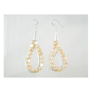 Liquid Silver Pink Pearl Earrings