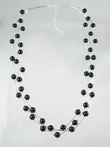 "Liquid Silver Onyx Beaded Necklace 17"" - 19"""