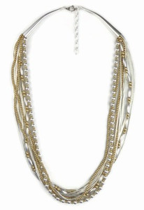 "Liquid Silver & Gold Bead Necklace - Adjustable Length 18"" to 20"""