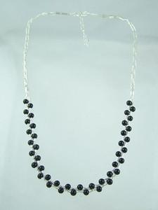 Liquid Silver Onyx Bead Necklace