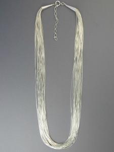 "20 Strand Liquid Silver Necklace Adjustable Length 20"""