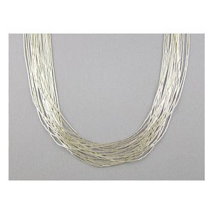 "20 Strand Liquid Silver Necklace - Adjustable Length 30"" (LSNK2030)"