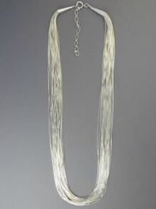 "20 Strand Liquid Silver Necklace - Adjustable Length 30"" (LSNK2030)"