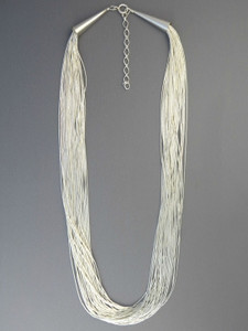 "30 Strand Liquid Silver Necklace 18"" Adjustable Length"