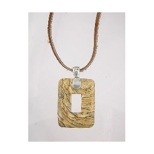 Picture Jasper Leather Necklace