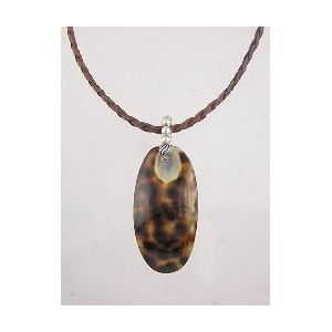 Tiger Cowry Leather Necklace