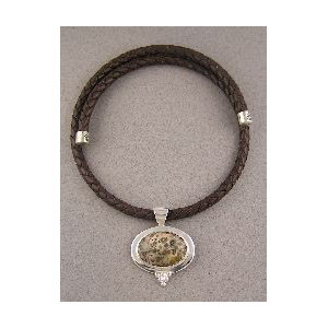 Leopard Jasper Leather Necklace
