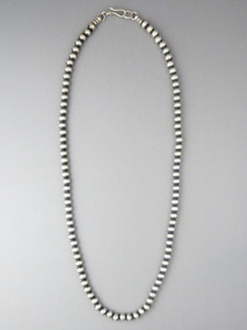 """Antiqued Sterling Silver 5mm Bead Necklace 24"""""""