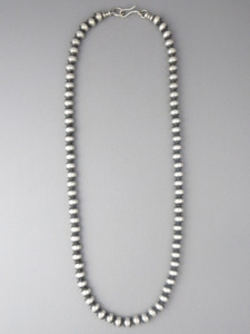 Antiqued Sterling Silver 6mm Bead Necklace 22""