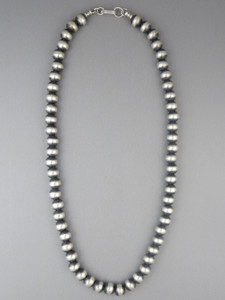 """Antiqued Sterling Silver 8mm Bead Necklace 20"""""""