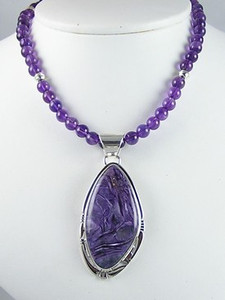 Sterling Silver Charoite & Amethyst Bead Necklace (NK0347)