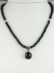 Silver Onyx Bead Necklace