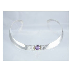 14k Gold & Sterling Silver Amethyst Collar Necklace