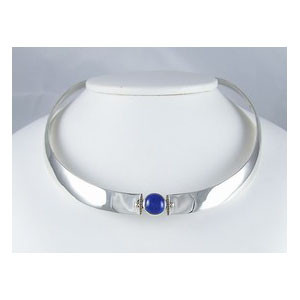 14k Gold & Sterling Silver Lapis Collar Necklace