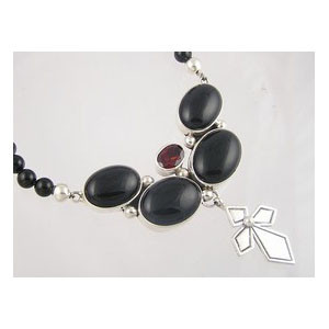 Onyx & Garnet Silver Cross Necklace