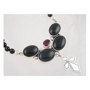 Onyx & Garnet Silver Cross Necklace