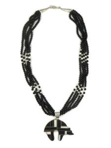 Jet & Opal Inlay Bear Necklace (NK2150)