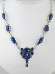 Sterling Silver Lapis Necklace & Earring Set