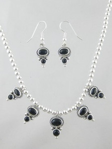 Sterling Silver Onyx Necklace & Earring Set (NK3069)