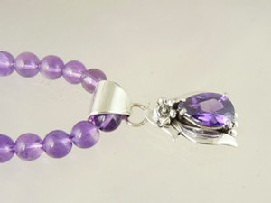 Sterling Silver Amethyst Necklace by Southwest Artist Les Baker (NK3412)