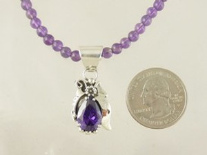 Sterling Silver Amethyst Necklace by Southwest Artist Les Baker (NK3413)