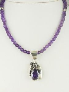 Sterling Silver Amethyst Necklace by Southwest Artist Les Baker (NK3413)