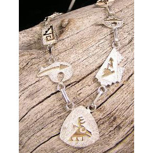 14k Gold & Silver Native American Symbol Necklace by Tom Livingston