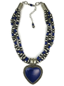 Three Strand Genuine Lapis Heart Necklace by Happy Piaso