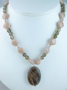 Smokey Quartz, Peach Moonstone & Labradorite Bead Necklace