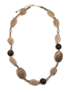 Peach Moonstone, Labradorite & Glass Bead Necklace (NK4068)
